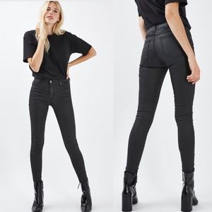 Topshop Moto coated Leigh jeans in black 26
